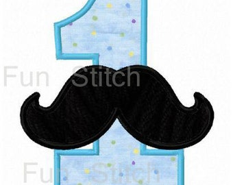 Set of 9 Mustache birthday applique numbers machine embroidery design
