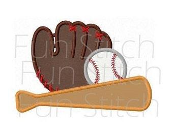 Baseball sports applique machine embroidery design