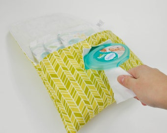 Organic Citrus Herringbone Diaper & Wipe Clutch