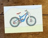 Mountain Bike Art Print, A4 illustration