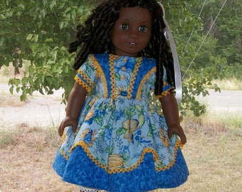 1850's Girls Blue Historical Dress with Vest Overlay yellow trim fits 18inch doll
