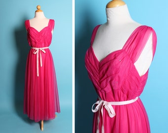 THE BEST 1950's Hot Fuchsia Hourglass Glamor Night Gown w/ Ruched, Pleated & Rhinestone Shelf Bust/Bodice by Vanity Fair w/ Satin Tie Belt