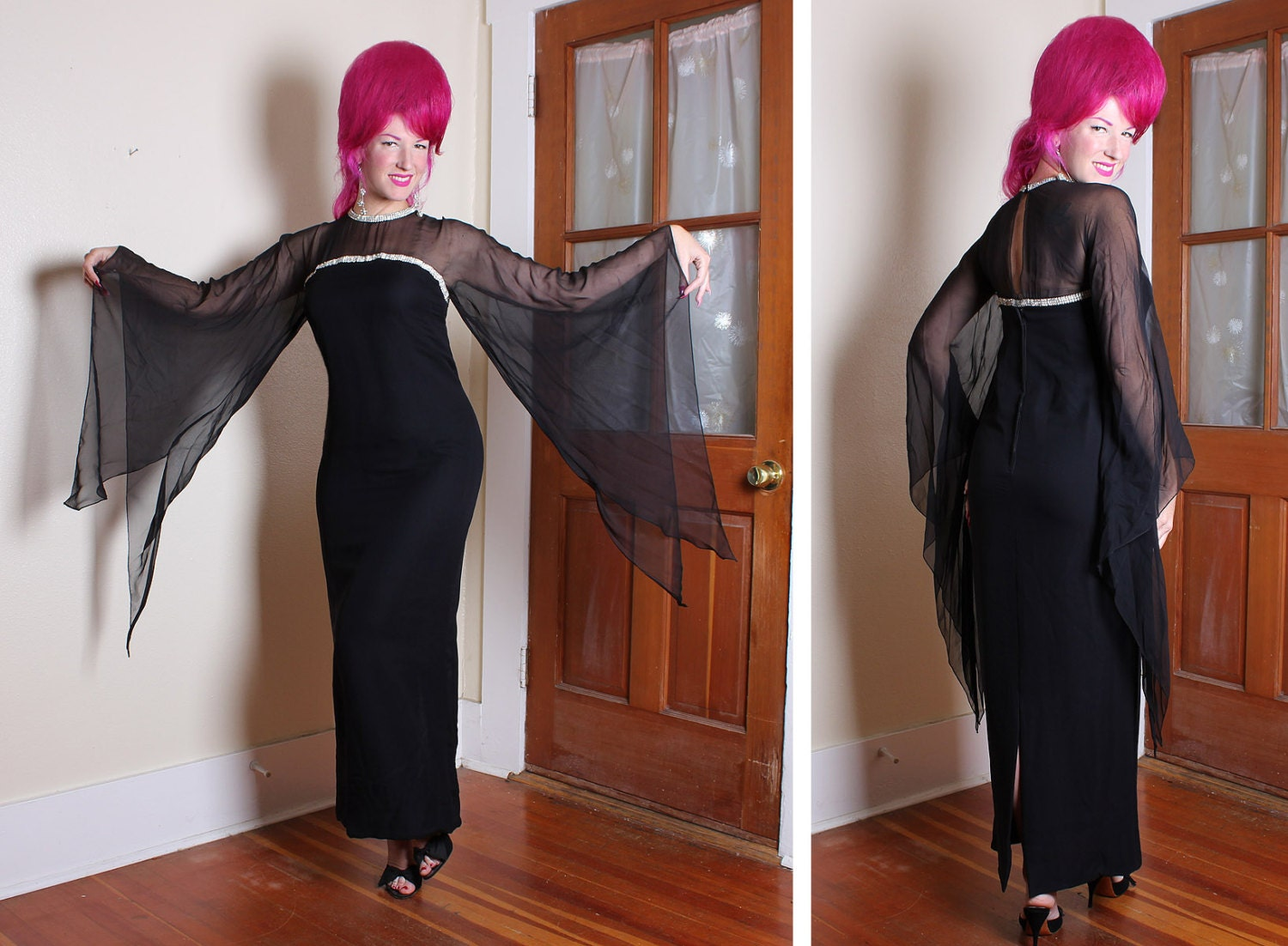 BEWITCHING Early 1960's Inky Black Silk Chiffon Over Rayon Evening Gown - Rhinestone Illusion Bust & Huge Bat Wing Draped Sleeves - Size M L