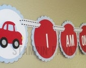 "Little Red Race Car Collection- ""I am One"" High Chair Banner with Red Cars. Racing Car theme. Mini Banner. Race Car. Red and Light Blue."