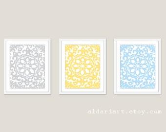 Art Deco Flower Ornament Wall Art Print Set - Unique Home Decor - Triptych Set of 3 Medallions - Pastel Colors - Grey Yellow Blue