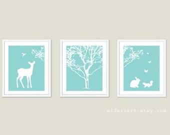 Woodland Nursery Art Prints - Forest Animals Nursery Decor - Deer Bird Rabbit Squirrel Butterflies Wall Art - Blue and White Nursery Decor