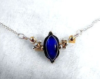 Blue stone and sterling silver Victorian necklace