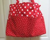 Tina Style:  Red and White Polka Dot Extra Large Tote for Travel, Knitting, Diaper Bag, Whimsical, Bright, Eco Friendly