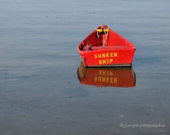 Nantucket Art, Sunken Ship, Red Boat Photo, Print Dory ACK, Cottage Decor, Nautical Wall Art, Seaside Decor, Coastal Decor, Boat Photography