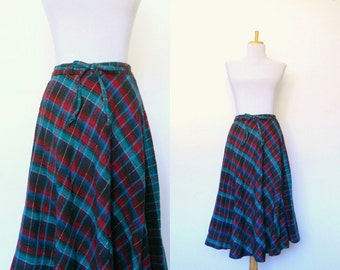 Vintage 60s diagonal tartan plaid rockabilly skirt (small)