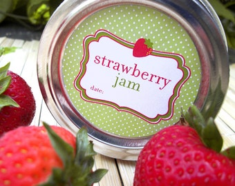 Strawberry Jam canning jar labels, round canning labels for mason jars, fruit preservation, jam jar labels