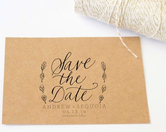 Custom Calligraphy Save the Date Artichoke Stamp 3 x 2.5 for Wedding Wood Handle Rubber Stamp Hand Written Calligraphy