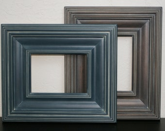 Sizes 8x10 to 12x12 Wood Picture Frame / Gray Wash Brown or Navy / Whistler Style