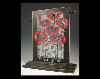 Poppies on a Black Distressed Table Top Earring & Jewelry Organizer