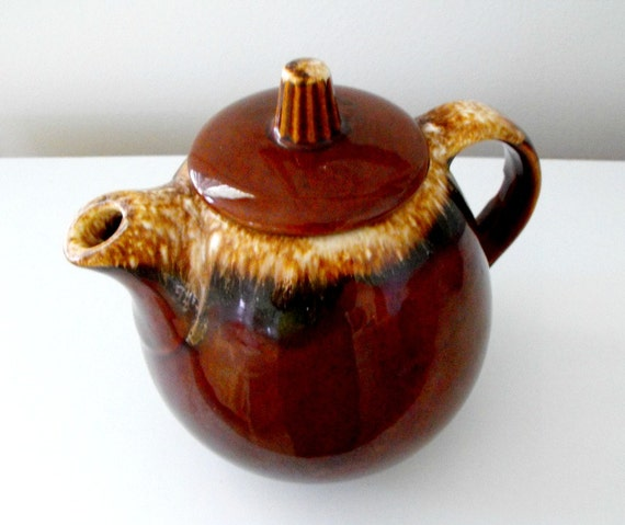 Hull Pottery Usa Vintage Brown Drip Glaze Teapot Oven Proof