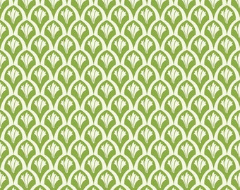 Leaf Green Geometric Scale Fabric, Vintage Verona by Emily Taylor for Riley Blake Designs, Scales Print in Green, 1 Yard