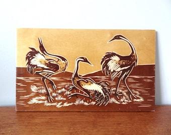 Crane Wood Carving Mid Century Art