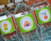 Circus Party Water Bottle Labels - Carnival Birthday - Circus Birthday Party Decorations - Kids Circus Party - Set of 10