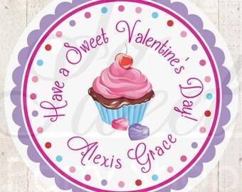 24 Cupcake Valentine's Day Stickers - Valentine's Day Party Decorations - Boy or Girl Valentine Stickers