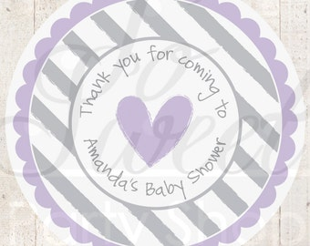 Girls Baby Shower Stickers - Favor Labels, Thank You Stickers - Purple and Gray - Baby Shower - Heart and Stripe - Set of 24