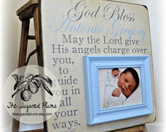 Baptism Gifts for Godchild, Godchild Frame, Gift For Godchild, Godchild Gift, Goddaughter, Godson, Christening, 16x16 God Bless