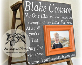 Baby Gift Orange and Gray Pregnancy Ultrasound Gift Picture Frame Personalized Custom Rustic Beach Shabby Gift for New Baby Mom 16x16