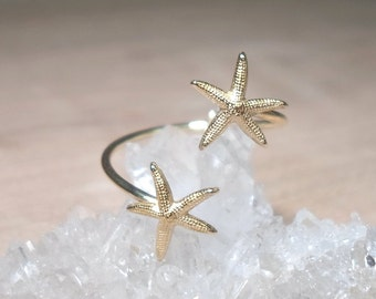 Open Ring, Double Starfish Ring, Starfish Midi ring, above the knuckle ring, Duo Knuckle Rings, Gold Brass rings, Starfish ring, beach ring