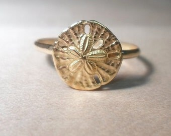 Sand dollar ring, Beach Ring, Gold Sand dollar, Gold rings, gold stacking ring, gold beach ring, sand dollar jewelry, gold stack, ocean ring