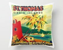Virgin Islands St Thomas Pillow Cover Coastal pillow USVI vintage wedding Gifts For Her Decorative Throw Pillow Beach Decor Tropical Island