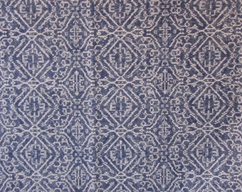 PRIYA INDIAN BLUE/indigo ikat designer,drapery/bedding/upholstery fabric