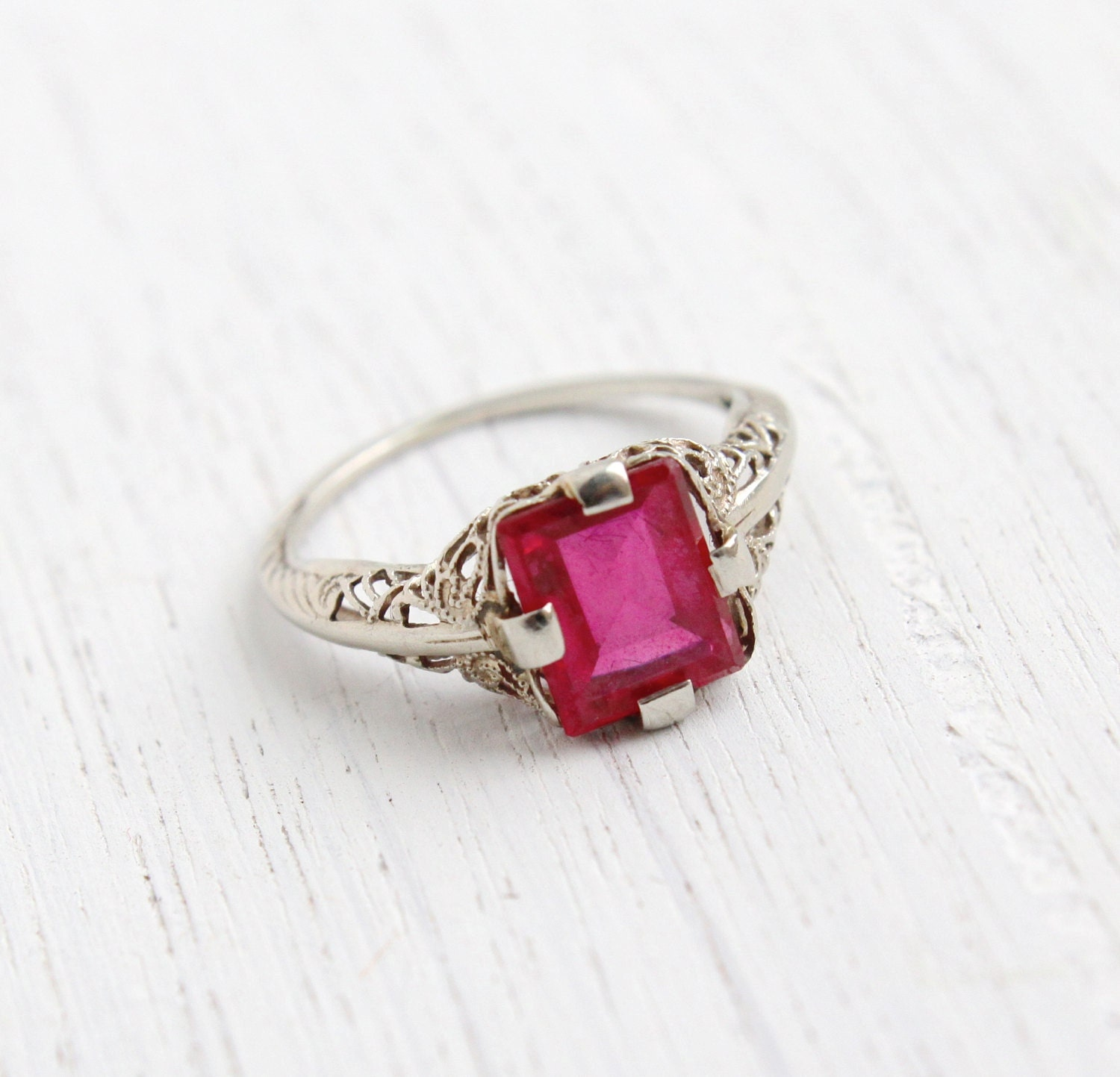 Antique 10k White Gold Genuine Ruby Ring Size 5 Vintage