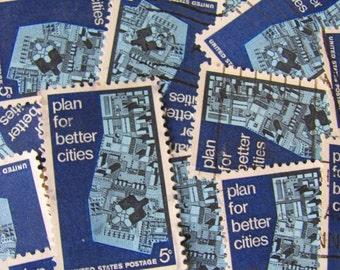 Urban Planning 30 Vintage US Postage Stamps Architecture Civil Engineering Metropolitan Design Big City Blue Scrapbooking Ephemera Philately