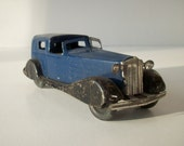 Vintage Antique Pressed Steel Toy Chauffeurs Car / Blue Black Yellow / Marx Wyandotte Girard