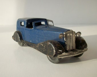 Vintage Antique Pressed Steel Toy Chauffeurs Car / Blue Black Yellow / Marx Wyandotte Girard