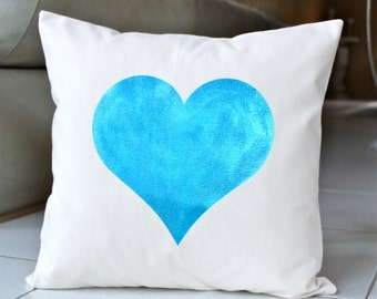 Big  Turquoise Metallic Heart Pillow Case - Hand Painted on Natural Cotton Canvas -Turquoise  Cushion Cover - 16x16 Pillow Cover