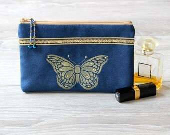 Blue Vegan Hand Painted Butterfly  Pouch Blue and Gold Faux Suede Pouch