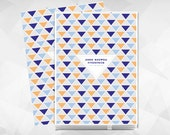 Triangles Modern Baby Memory Book for Baby Boy, with Blue, Orange and Navy. Cover is Personalized!