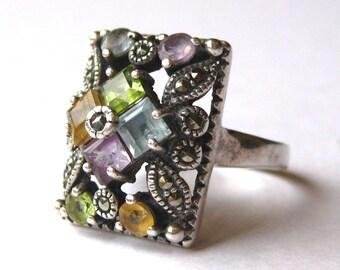 Vintage Ring Jeweled Aquamarine Amethyst Topaz Peridot & Marcasite Sterling Silver Filigree Ring size 8
