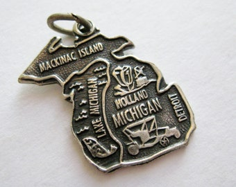 Vintage 50s Sterling Silver Michigan State Souvenir Map Bracelet Charm
