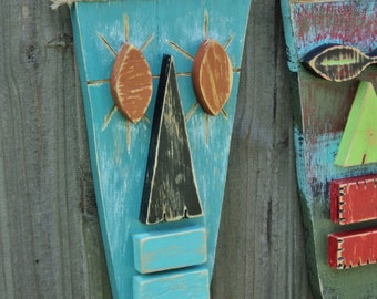 Tiki Mask, Primitive Wall Hanging, Tiki Man, Wood Sculpture, Rustic Beach House, Tiki Bar
