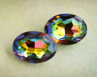 14x10mm Vitrail Medium Oval Glass Jewels Gems Stones from Czech Republic, Foiled backs, Quantity 2