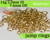 16g 5.0mm ID 7.6mm OD NuGold brass jump rings -- 16g5.00 open jumprings
