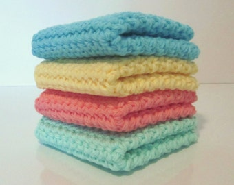 Crochet Washcloth, Crochet Dishcloth, Set of 4 Cotton Washcloths