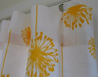 Window Curtain- Premier Prints   Pair 25 x 84 White Dandelion