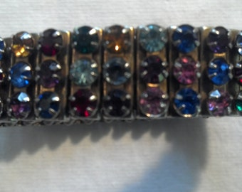 Rhinestone Bracelet Expandable Multi-Colored 1940s 1950s Mid Century Modern Mad Men