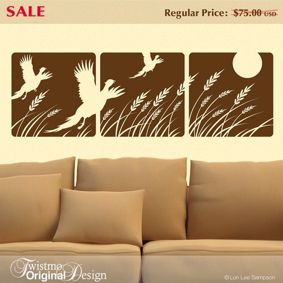 Farmhouse Decor, Country Decor, Nature Wall Decal, Flying Pheasants, Birds, Wheat, Moon, Sun, Vinyl Wall Decal, 3-Panel Design