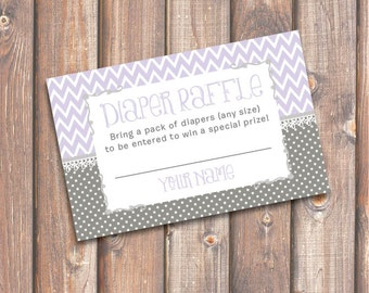 Chevron Lavender and Gray Baby Shower Diaper Raffle Tickets Purple Diaper Raffle Cards Baby Girl Twin Girls - INSTANT DOWNLOAD