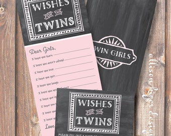 Printable Baby Shower Game - TWINS Chalkboard Pink and Gray Wishes for Twin Girls - INSTANT DOWLOAD