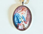 """Virgin Mary """"Rose of Sharon"""" glass pendant"""