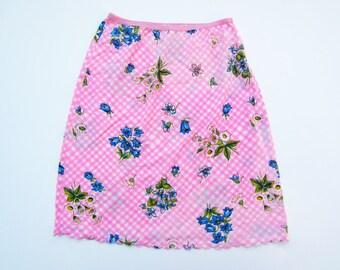 1960s half slip  pink floral nylon S/M